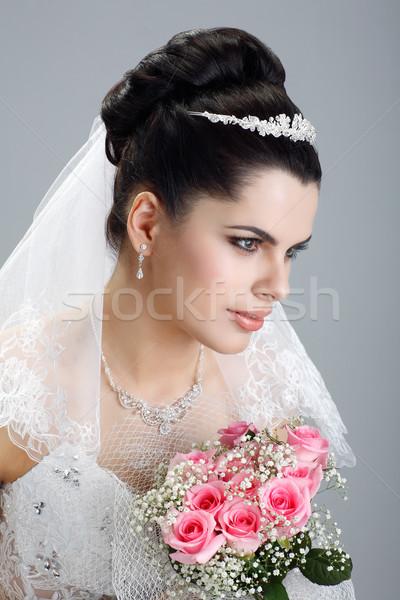 Portre güzel gelin gelinlik düğün dekorasyon Stok fotoğraf © pandorabox