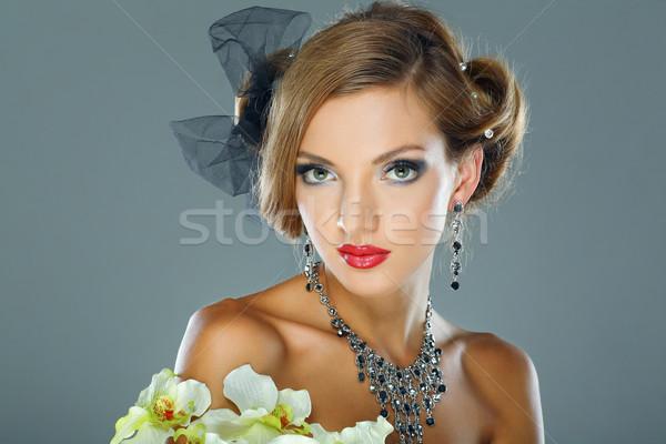 Fotoğraf güzel kız düğün süslemeleri moda stil Stok fotoğraf © pandorabox