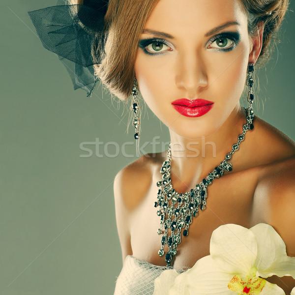 Düğün dekorasyon kız kadın moda doğa Stok fotoğraf © pandorabox