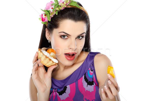 Genç güzel esmer gıda yüz Stok fotoğraf © pandorabox
