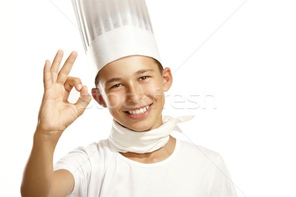 Erkek pişirmek beyaz aile gıda çocuk Stok fotoğraf © paolopagani