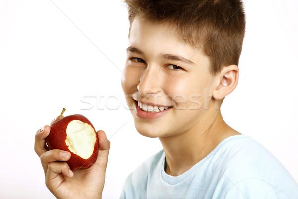 少年 食べる リンゴ 白 笑顔 幸せ ストックフォト © paolopagani