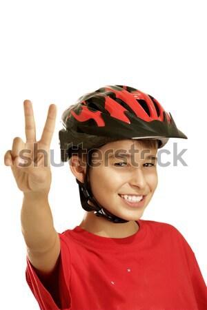Erkek bisiklet kask beyaz çocuklar spor Stok fotoğraf © paolopagani