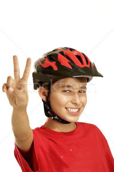 Fiú bicikli sisak fehér gyerekek sport Stock fotó © paolopagani