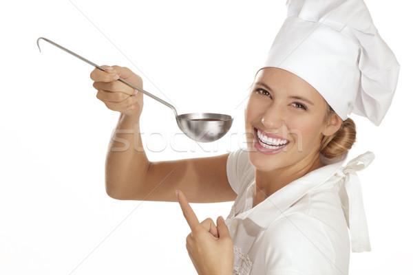 若い女性 シェフ 異なる ツール 白 手 ストックフォト © paolopagani