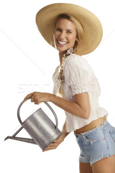 Stok fotoğraf: Genç · kadın · bahçıvan · beyaz · çiçek · gülümseme · çalışmak