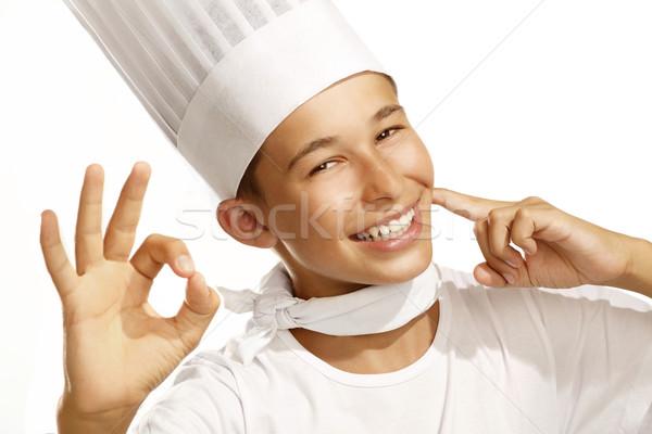 Erkek pişirmek beyaz aile gıda mutlu Stok fotoğraf © paolopagani
