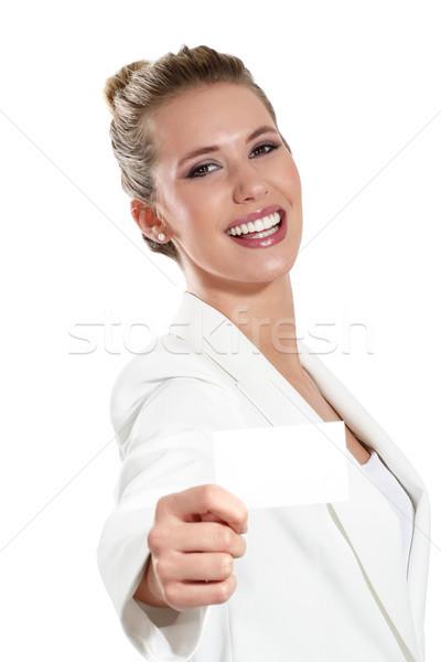 ビジネス女性 名刺 白 女性 オフィス ストックフォト © paolopagani