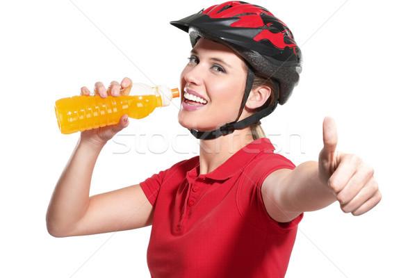 Stok fotoğraf: Genç · kadın · bisiklet · kask · beyaz · gülümseme · spor
