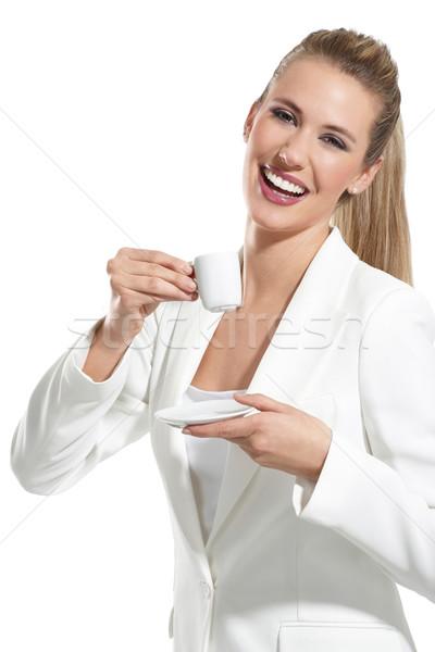 小さな 美人 ドリンク コーヒー 白 少女 ストックフォト © paolopagani