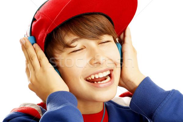 Portre kulaklık çocuklar yüz mutlu Stok fotoğraf © paolopagani