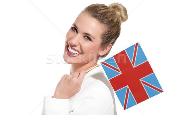 Belle femme internationaux drapeaux blanche femmes Photo stock © paolopagani