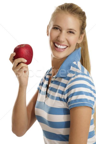 Genç kadın yeme elma beyaz kadın gıda Stok fotoğraf © paolopagani