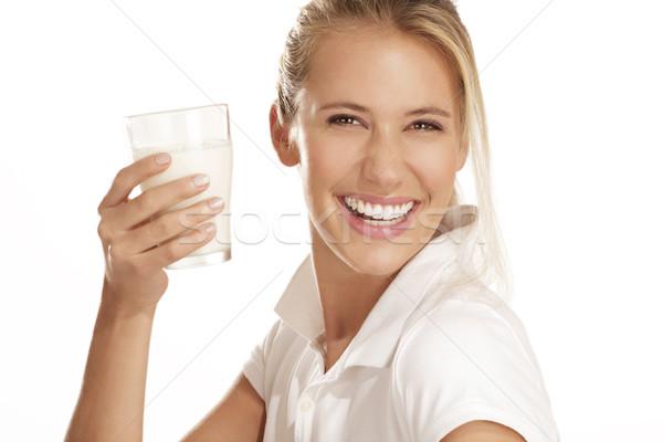 若い女性 ドリンク ミルク 白 女性 ガラス ストックフォト © paolopagani
