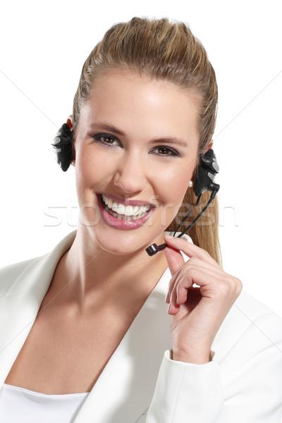 美人 話 ヘルプデスク 白 ビジネス 女性 ストックフォト © paolopagani