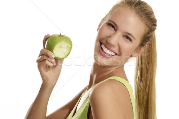Stok fotoğraf: Genç · kadın · yeme · elma · beyaz · kadın · gıda