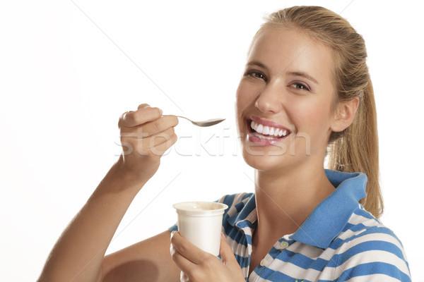 若い女性 食べ ヨーグルト 白 女性 笑顔 ストックフォト © paolopagani