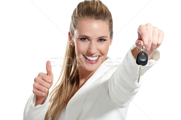 Stok fotoğraf: Güzel · bir · kadın · tuşları · araba · güzel · beyaz · gülümseme