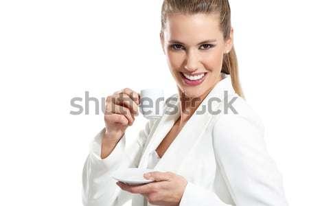 Genç güzel bir kadın içmek kahve beyaz kız Stok fotoğraf © paolopagani