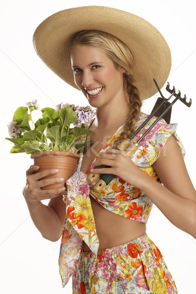 若い女性 植木屋 白 花 笑顔 作業 ストックフォト © paolopagani