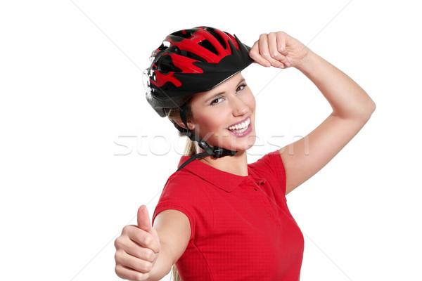 Genç kadın bisiklet kask beyaz gülümseme spor Stok fotoğraf © paolopagani