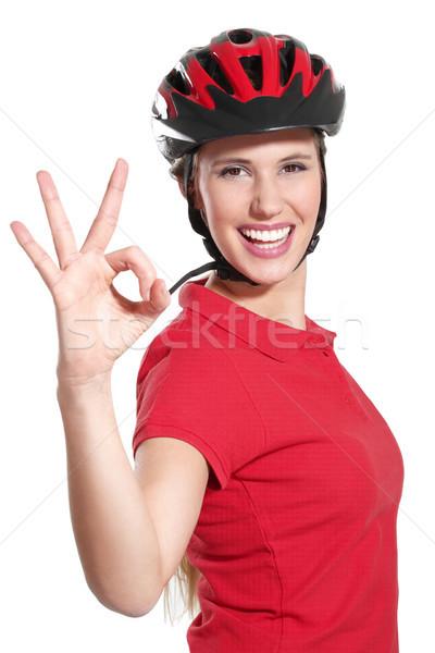 Genç kadın bisiklet kask beyaz kadın kız Stok fotoğraf © paolopagani