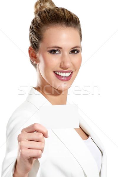 Iş kadını kartvizit beyaz kadın ofis Stok fotoğraf © paolopagani