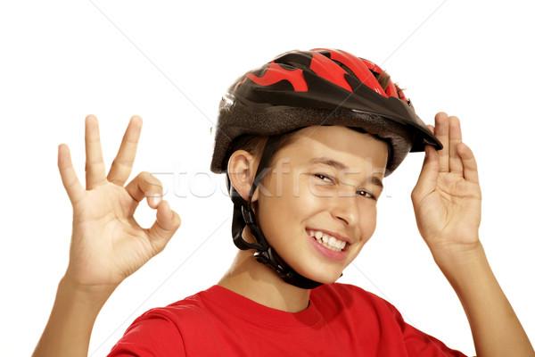 Stok fotoğraf: Erkek · bisiklet · kask · beyaz · çocuklar · spor