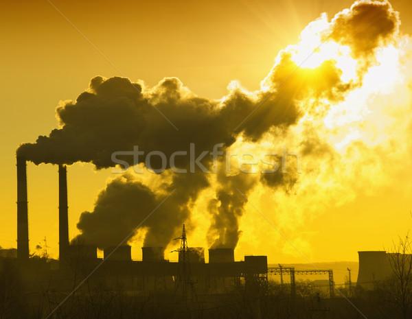 Usina fumar sujo laranja ar céu Foto stock © papa1266