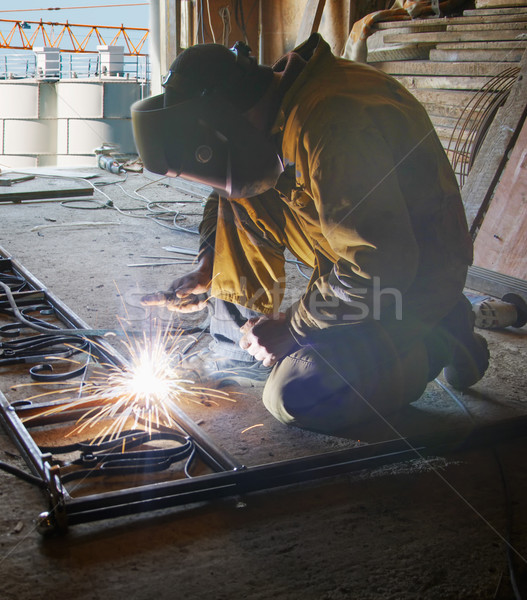 Welder with protective mask welding metal Stock photo © papa1266