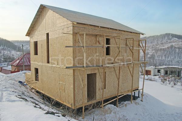 новый дом строительство лестнице Blue Sky дома работу Сток-фото © papa1266