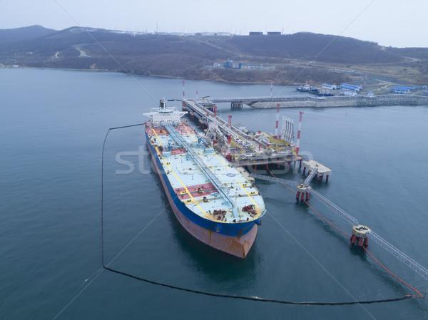Folyadék olajtanker kikötő gyár erő gazdaság Stock fotó © papa1266