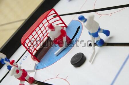 Hockey speelgoed aanval poort sport sneeuw Stockfoto © papa1266