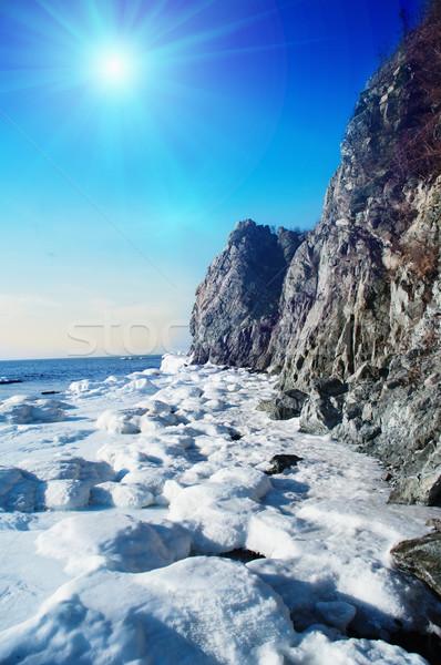 Deniz Japonya büyük kayalar gün batımı Stok fotoğraf © papa1266