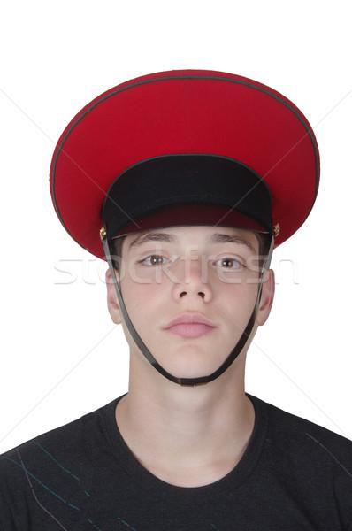 Cute jongen militaire cap Rood dienst Stockfoto © papa1266