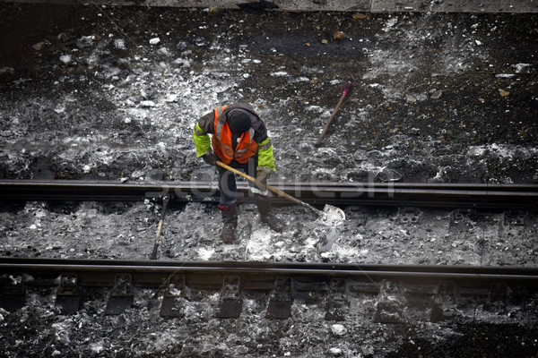 Demiryolu işçiler turuncu el çift tren Stok fotoğraf © papa1266
