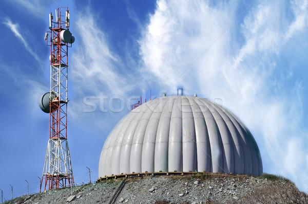 Radar koepel technologie Blauw wolken hemel Stockfoto © papa1266