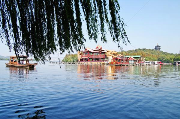Chińczyk parku jezioro Chiny piękna drzew Zdjęcia stock © papa1266