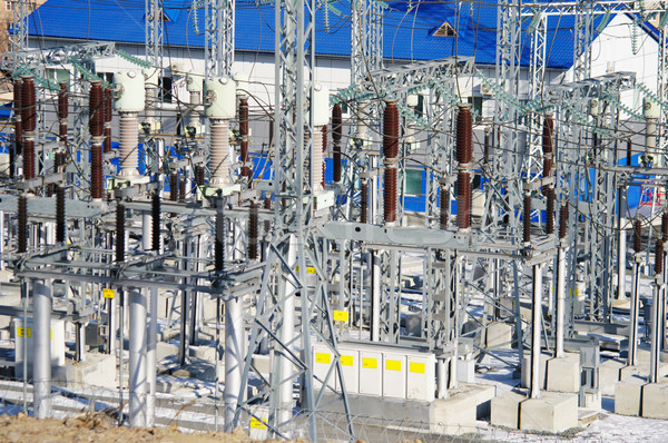 Elektrische bomen veld industrie industriële plant Stockfoto © papa1266