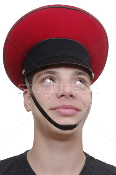 Cute jongen militaire cap Rood gezicht Stockfoto © papa1266
