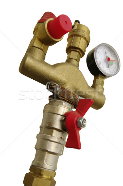 Pression blanche signe gaz échelle robinet Photo stock © papa1266