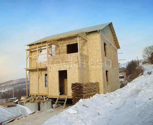 Nieuw huis bouw ladder blauwe hemel huis werk Stockfoto © papa1266