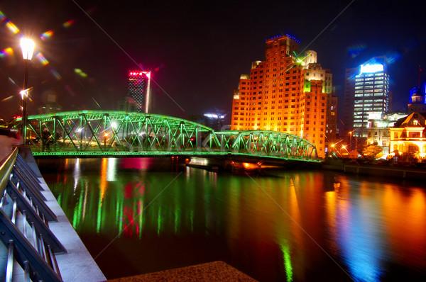Nacht Sjanghai mooie rivier financiële wereld Stockfoto © papa1266