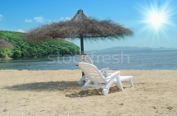 şezlong şemsiye pastoral tropikal kum plaj Stok fotoğraf © papa1266