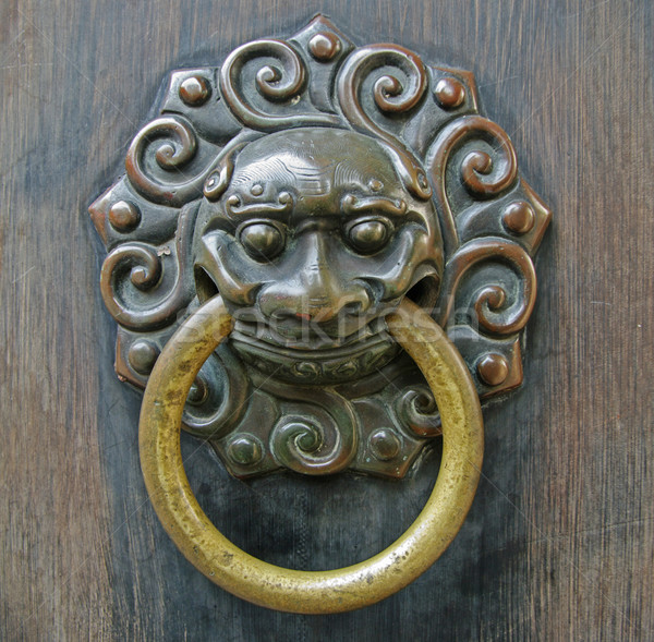 Chinese lion  doorhandle Stock photo © papa1266