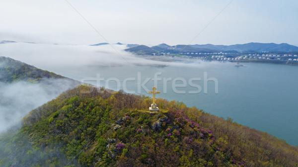 Vos eiland rotsen zee orthodox kruis Stockfoto © papa1266