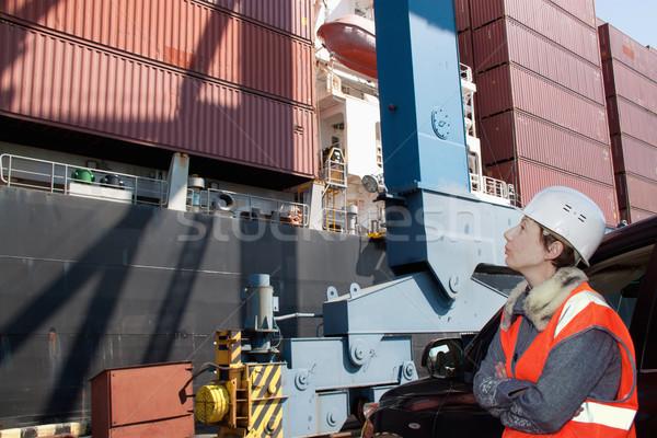Stock fotó: Tengeri · mérnök · lány · magas · láthatóság · mellény