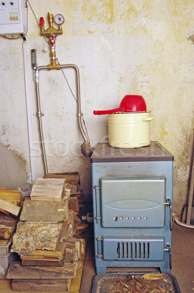 steel water boiler with a stove plate Stock photo © papa1266