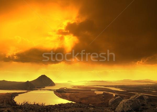 Coucher du soleil mer Japon Russie eau fond Photo stock © papa1266