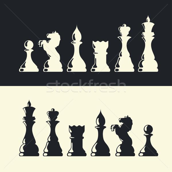 Piezas de ajedrez colección vector caballo castillo jugar Foto stock © pashabo